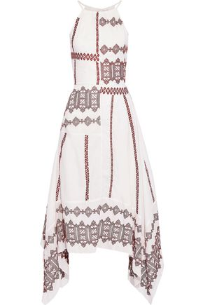 JOIE Asymmetric embroidered cotton-poplin midi dress