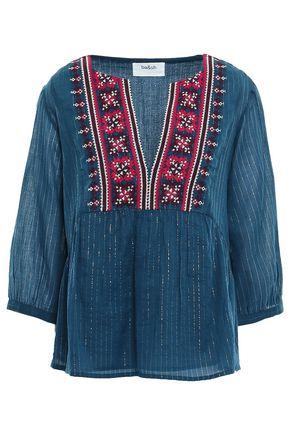 BA&SH Aura embroidered metallic cotton-blend gauze blouse