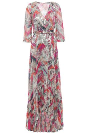 BA&SH Metallic printed stretch-knit maxi wrap dress