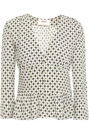 BA&SH Carlo ruffled printed crepe blouse