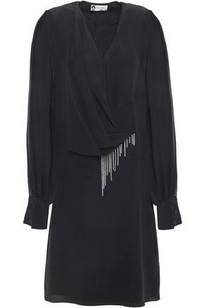 LANVIN Chiffon-paneled draped embellished silk-crepe mini dress