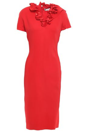 LANVIN Ruffle-trimmed crepe dress