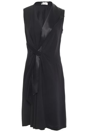 LANVIN Satin-trimmed crepe dress