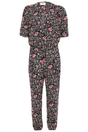 BA&SH Hollywood wrap-effect floral-print voile jumpsuit