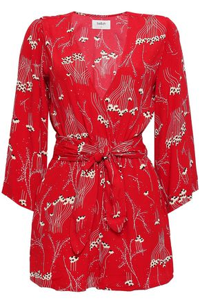 BA&SH Khan tie-front printed crepe playsuit