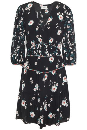 BA&SH Belize gathered floral-print crepe mini dress