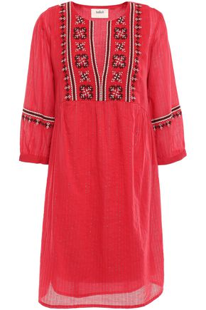 BA&SH Agda embroidered metallic cotton-blend gauze mini dress