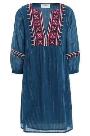 BA&SH Agda embroidered metallic cotton-blend gauze mini dress