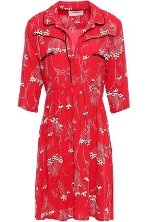 BA&SH Kyle gathered printed crepe mini shirt dress