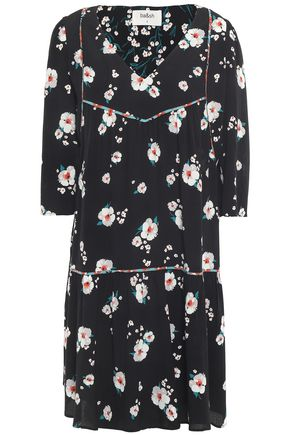 BA&SH Gathered floral-print crepe mini dress