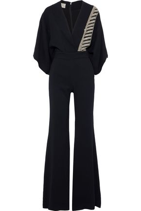ANTONIO BERARDI Wrap-effect embellished cady jumpsuit