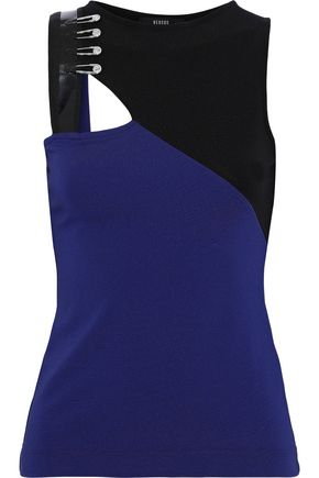 VERSUS VERSACE Cutout embellished two-tone cady tank