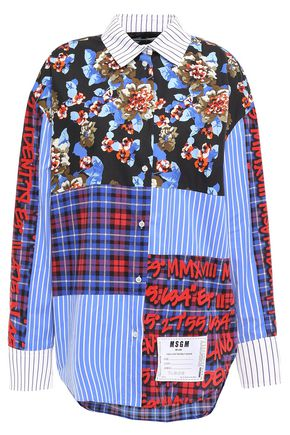 MSGM Patchwork-effect printed cotton-poplin shirt