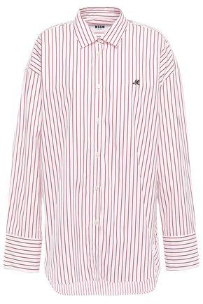 MSGM Striped cotton-poplin shirt