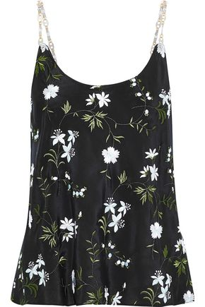PACO RABANNE Chain-trimmed embroidered washed-crepe camisole