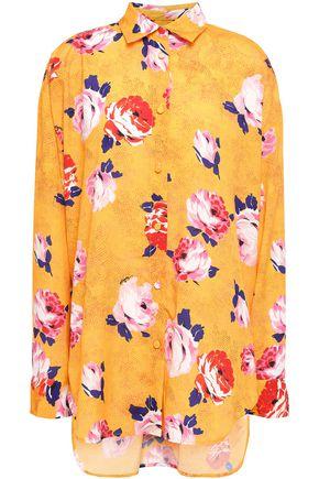 MSGM Floral-print crepe de chine shirt