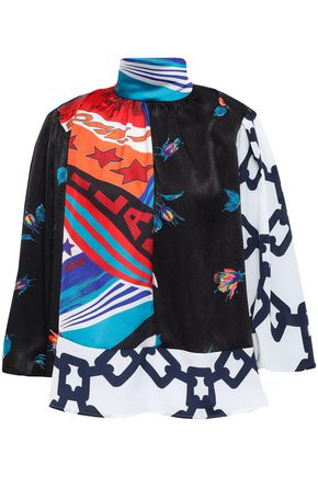 MSGM Paneled printed satin and crepe de chine blouse