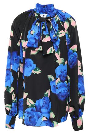 MSGM Pussy-bow printed crepe de chine blouse