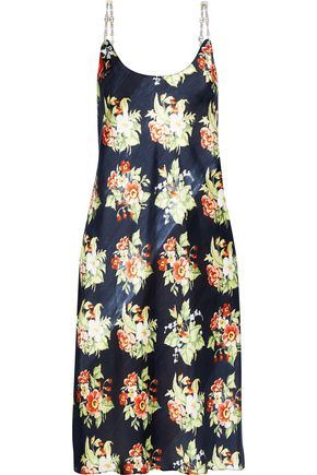 PACO RABANNE Chain-trimmed floral-print charmeuse slip dress