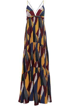 BA&SH Open-back printed crepe maxi dress