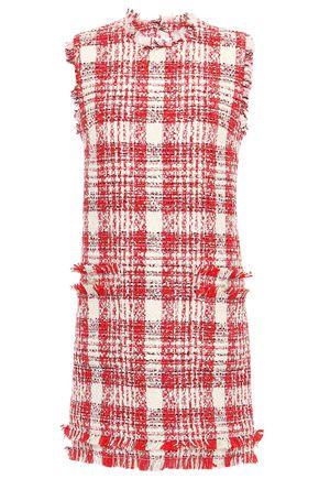 MSGM Frayed checked cotton-blend tweed mini dress