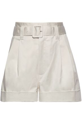 MARC JACOBS Belted stretch-cotton sateen shorts