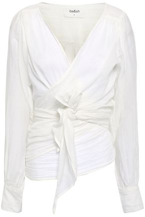 BA&SH Pandora cotton and silk-blend gauze wrap top