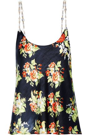 PACO RABANNE Chain-trimmed floral-print charmeuse camisole