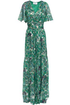 BA&SH Jessy printed metallic fil coupé silk-blend maxi dress