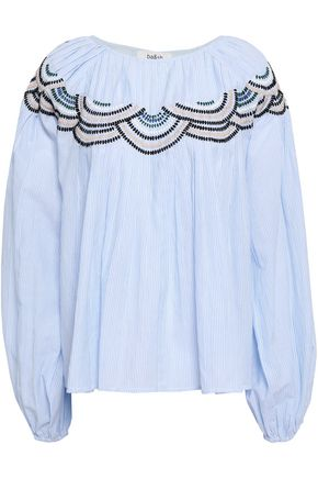 BA&SH Nora embroidered striped cotton-poplin blouse