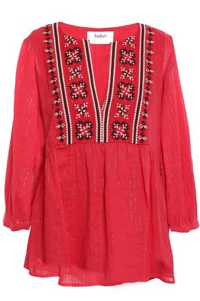 BA&SH Aura embroidered metallic cotton-gauze blouse