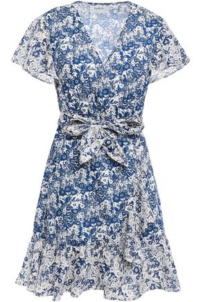 BA&SH Success floral-print cotton-voile mini wrap dress