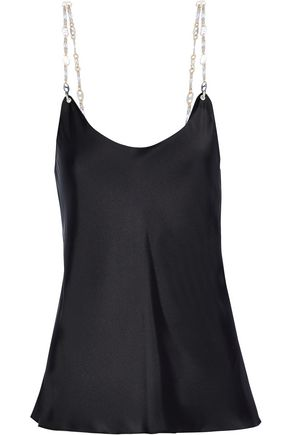 PACO RABANNE Chain-trimmed charmeuse camisole