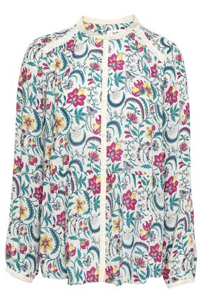 BA&SH Hopeful gathered floral-print voile blouse