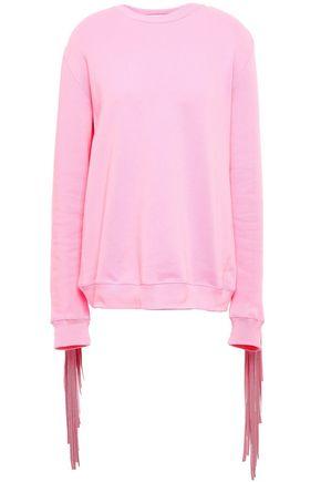 MSGM Fringed crepe-paneled cotton-blend terry sweatshirt