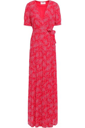 BA&SH Printed voile maxi wrap dress