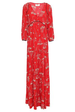 BA&SH Kina gathered printed crepe maxi dress
