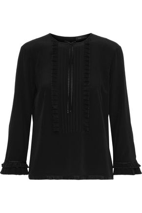 MARC JACOBS Bow-embellished pintucked silk crepe de chine blouse