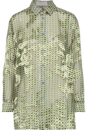 ANTONIO BERARDI Printed fil coupé chiffon shirt