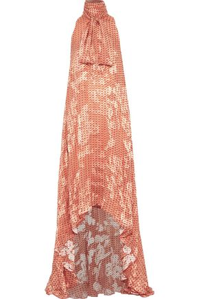 ANTONIO BERARDI Pussy-bow printed fil coupé chiffon gown