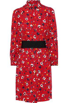 MARC JACOBS Belted floral-print silk-jacquard mini dress