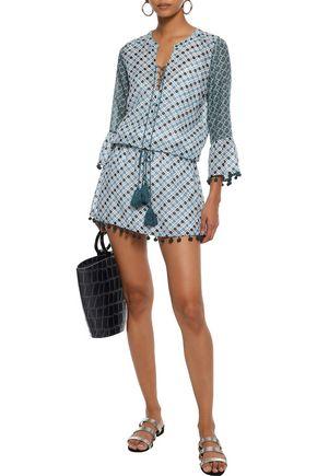 TALITHA Ria lace-up printed cotton and silk-blend mini dress