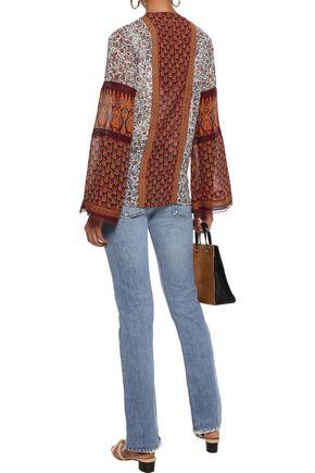 TALITHA Lace-up paneled floral-print silk-gauze blouse