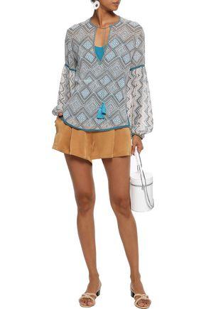 TALITHA Tasseled printed silk-gauze blouse