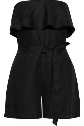 TART COLLECTIONS Ryla strapless ruffled linen and Tencel-blend playsuit