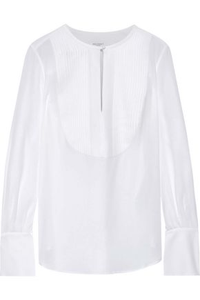 EQUIPMENT Vienna pintucked washed-silk shirt
