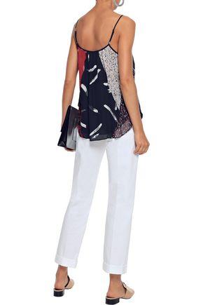 JOIE Leniline patchwork-effect printed silk-chiffon camisole