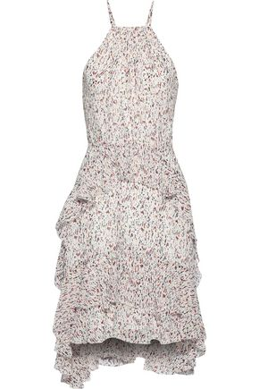 JOIE Lamberta tiered printed silk-chiffon dress