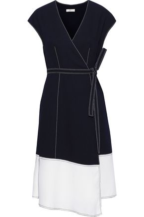 JOIE Mahesa two-tone crepe wrap dress
