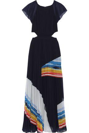 JOIE Keitha cutout printed chiffon maxi dress